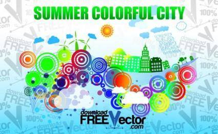free vector Summer Colorful City