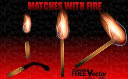 free vector Vector Matches With Fire