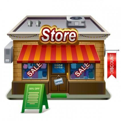 Small shops model 02 vector
