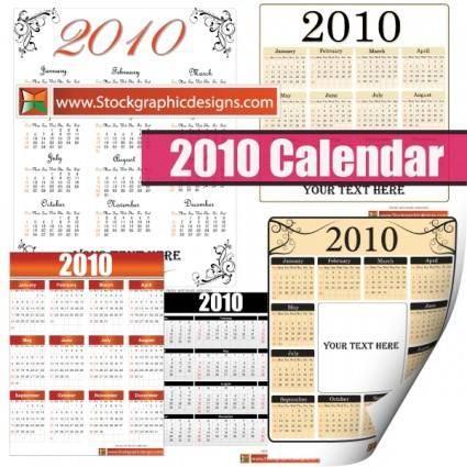free vector 2010 Free Vector Calendar
