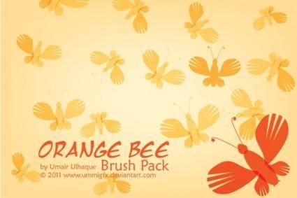 free vector Orange Bee Brush