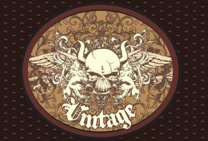 free vector Free Vector Vintage Emblem with Skull