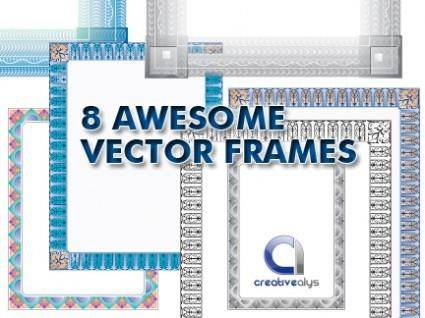 free vector 8 Awesome Vector Frames
