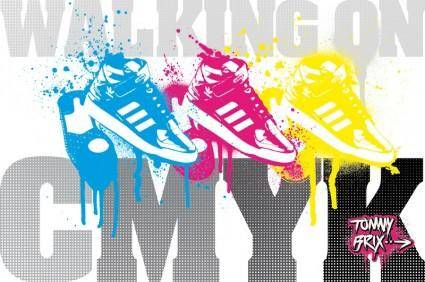 free vector WALKING ON CMYK - design TommyBrix