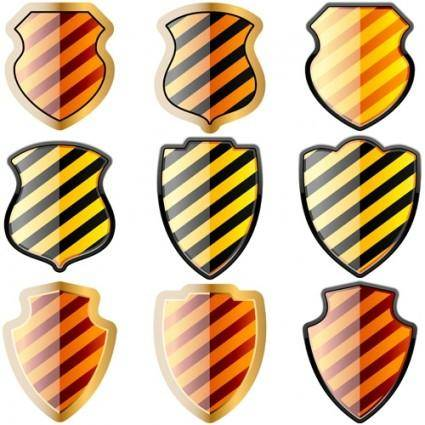 free vector Free set of of shields in black and yellow stripes