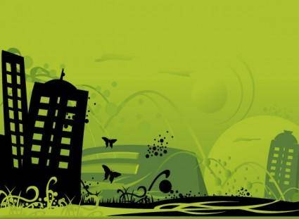 free vector Green City Art