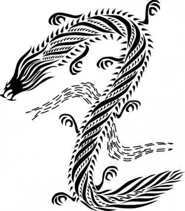 free vector Dragon chinese style black & white
