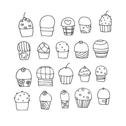 free vector Freehand Vector Cupcakes