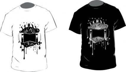 free vector Black and White T-shirt Vector