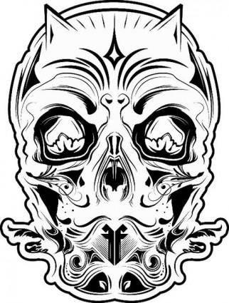 free vector FF 26: Devil Skull Black and White
