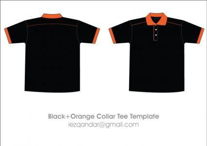 free vector Free Black & Orange Collar T-Shirt Template