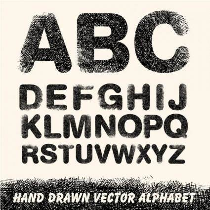 free vector Handdrawn line draft letters vector