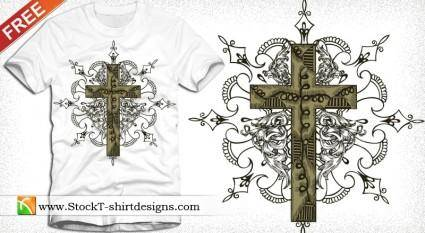 Free Vector T-shirt Design with Cross