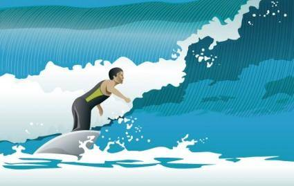 free vector Surfing Waves
