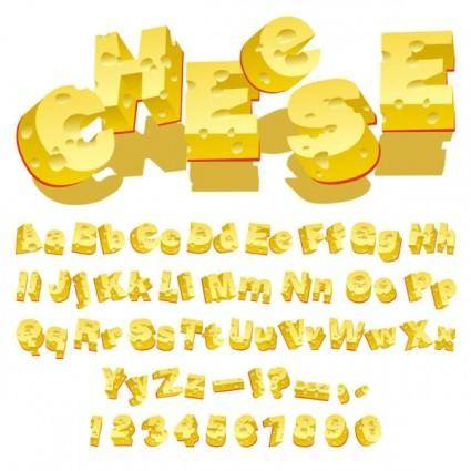 Cheese creative letters vector