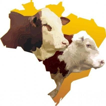 free vector Brazil map whit bulls heads