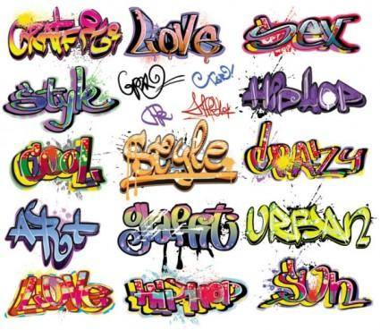 free vector Beautiful graffiti font design 01 vector