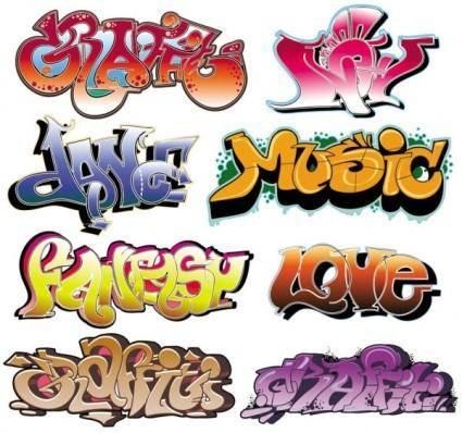 free vector Beautiful graffiti font design 02 vector