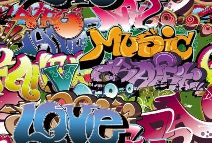 free vector Beautiful graffiti font design 04 vector
