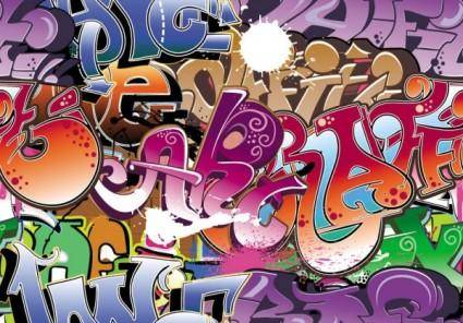 free vector Beautiful graffiti font design 05 vector