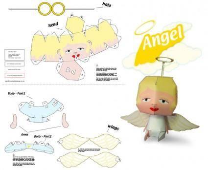 free vector Xmas Angel Paper Craft