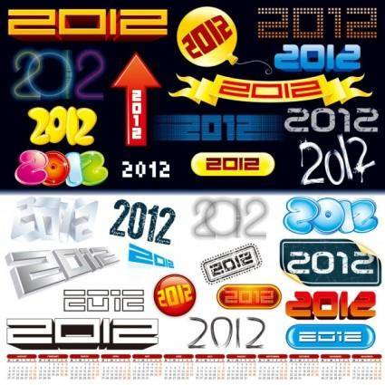 free vector 2012 font design vector