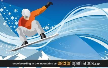 free vector Snowboarding in the mountains