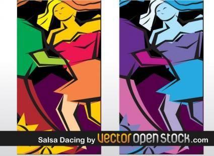 free vector Salsa dancing art illustration