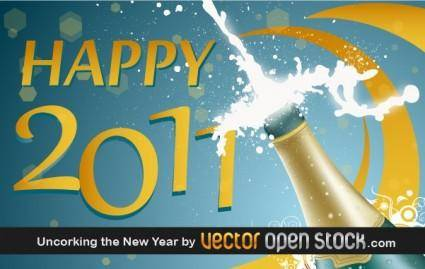 free vector Uncorking the New Year