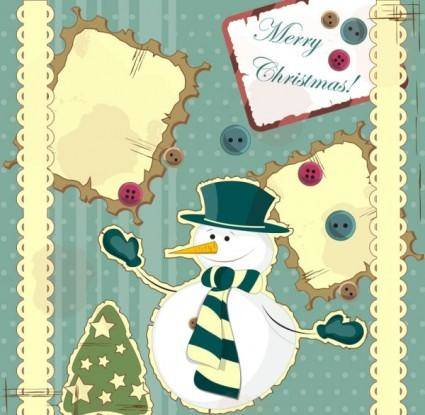 free vector Snowman decoration painting 02 vector