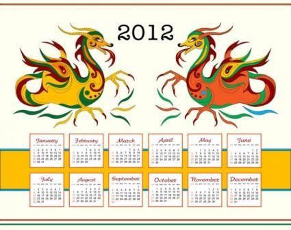 free vector Calendar year of the dragon vector