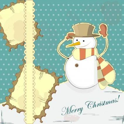 Snowman decoration painting 01 vector