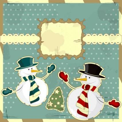 Snowman decoration painting 03 vector