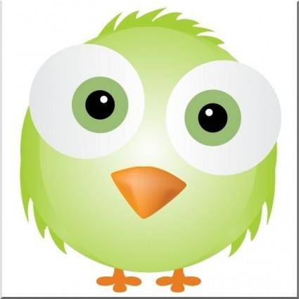 Silly Green Bird Vector (Cute Face)