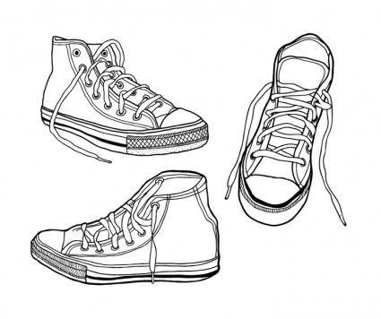 free vector Rough, Hand Drawn Illustrated Sneakers
