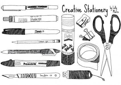 free vector Free Hand Drawn Creative Stationery!!!