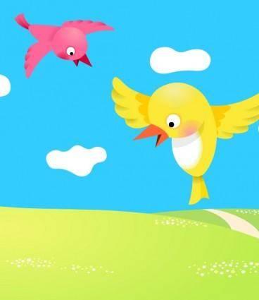 free vector Two birdies vector