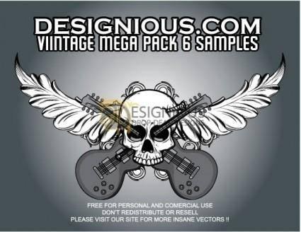 free vector Vector skull, foliage and guitars