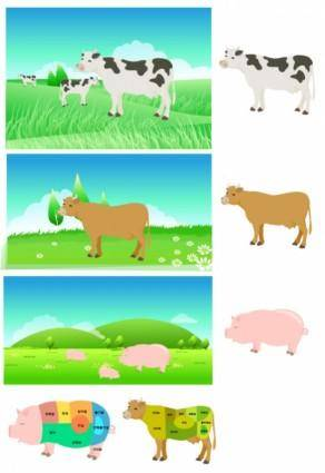 free vector Pork beef parts of the decomposition map vector