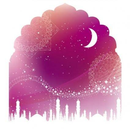Color landscape architectural silhouette 03 vector