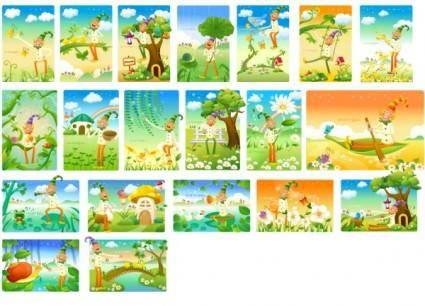 free vector Clown and the landscape vector series