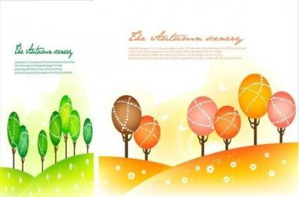 free vector Seasonal changes landscape illustrator vector 1