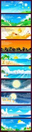 10 handdrawn style vector landscape