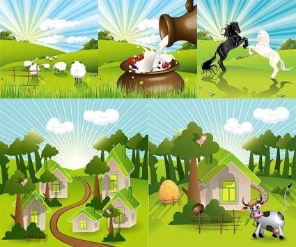 free vector Vector lovely countryside farm