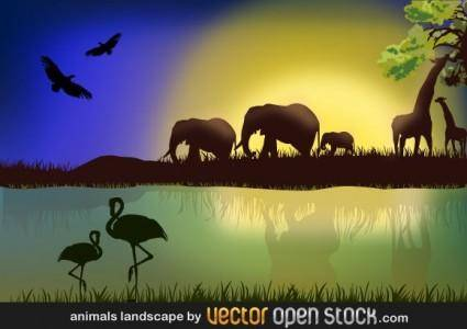 free vector African Landscape with Animals