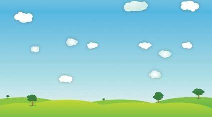 free vector Bright Outdoor Spring Landscape