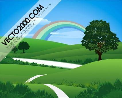 free vector Fresh green landscape with rainbow