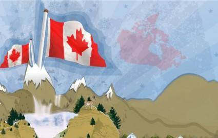 free vector Canadian Landscape Postcard