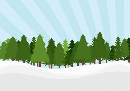 free vector Pine Trees Landscape