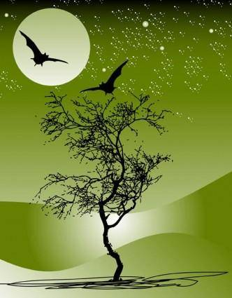 Nature night scene free vector